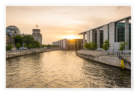 Premium poster Sunset at the Reichstag in Berlin