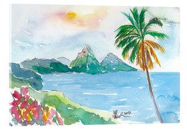 Acrylglas print  St Lucia Caribbean Dreams With Sunset and Pitons Peaks - M. Bleichner