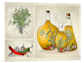 Acrylglas print  Kitchen herbs collage