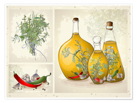 Premium poster Kitchen herbs collage