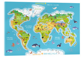 Acrylglas print  World map with animals - Kidz Collection