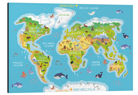 Aluminium print  World map with animals - Kidz Collection