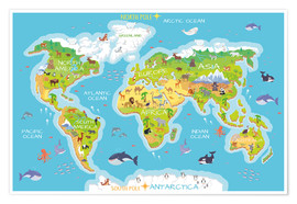 Premium poster World map with animals