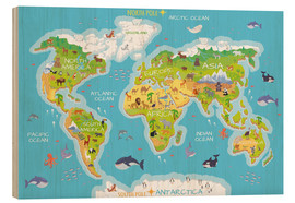 Hout print  World map with animals - Kidz Collection