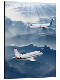 Aluminium print  Two aircrafts over the mountains