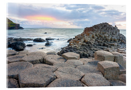 Acrylglas print  Sunset at Giant's Causeway in North Antrim, Northern Ireland