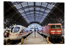 Acrylglas print  ICE and InterRegio trains in the central station