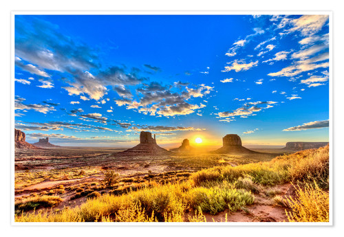 Premium poster Sunrise, mesas West Mitten Butte