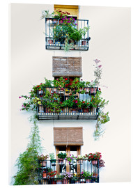 Acrylglas print  Facade with balconies full of flowers in Valencia