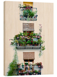 Hout print  Facade with balconies full of flowers in Valencia