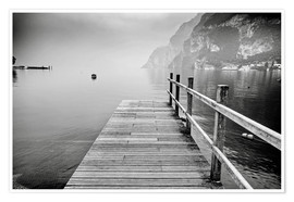 Premium poster Wooden bridge on Lake Garda, Italy