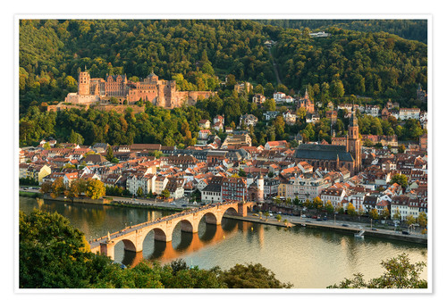 Premium poster View of the Old Town of Heidelberg from the Philosophenweg