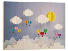 Hout print  Balloon ride in the clouds - Kidz Collection