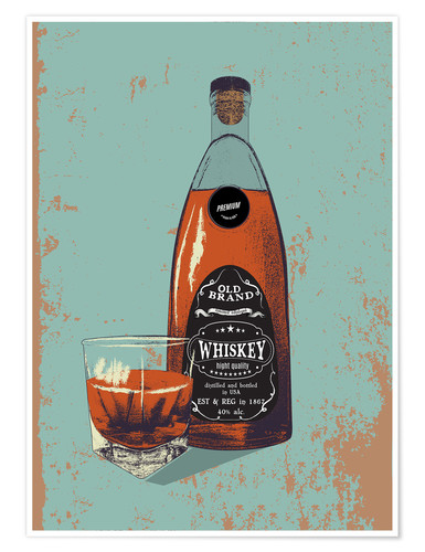 Premium poster Whiskey bottle and glass