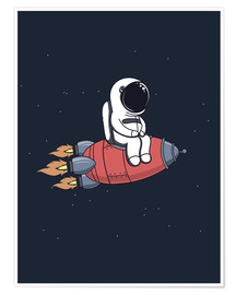 Premium poster  Little astronaut with rocket - Kidz Collection