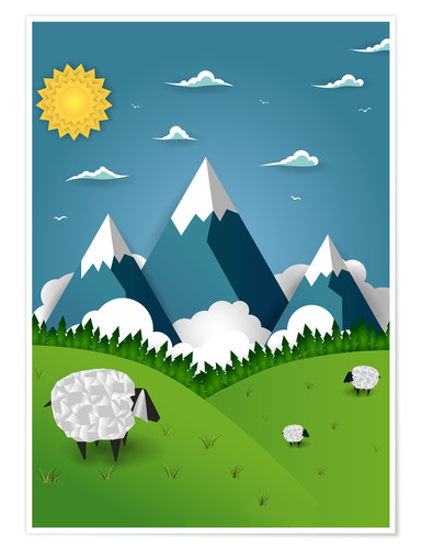 Premium poster Paper landscape with sheep