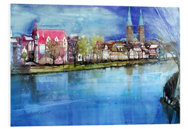 PVC print  Lübeck, painter angle with cathedral - Johann Pickl