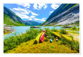 Premium poster Canoes and mountain scenery