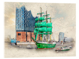 Acrylglas print  Hamburg Elbphilharmonie with the sailing ship Alexander von Humboldt - Peter Roder
