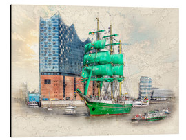 Aluminium print  Hamburg Elbphilharmonie with the sailing ship Alexander von Humboldt - Peter Roder