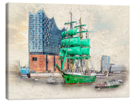 Canvas print  Hamburg Elbphilharmonie with the sailing ship Alexander von Humboldt - Peter Roder