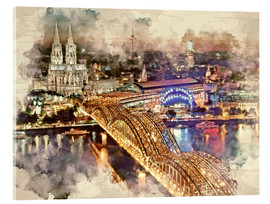 Acrylglas print  Cologne Skyline Cologne Cathedral - Peter Roder