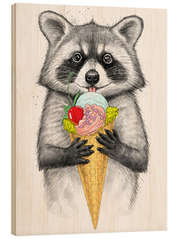 Hout print  Raccoon with ice cream - Nikita Korenkov