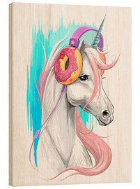 Hout print  Unicorn with headphones - Nikita Korenkov