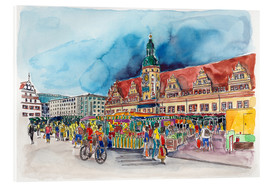 Acrylglas print  Leipzig Weekly market in front of the Old Town Hall - Hartmut Buse