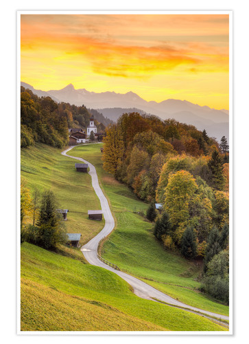 Premium poster Wamberg in the Bavarian Alps near Garmisch-Partenkirchen