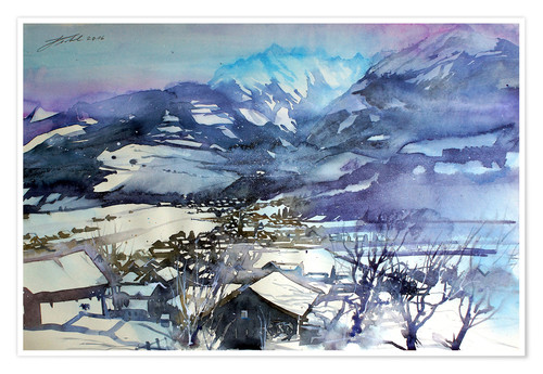 Premium poster Niedernsill in winter