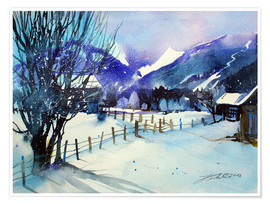 Premium poster Winter landscape near Zell am See