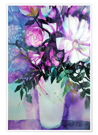 Premium poster White peonies with lilac