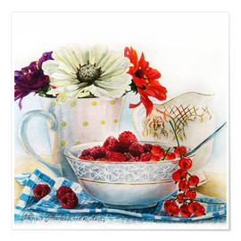 Premium poster Flowers and berries watercolor painting