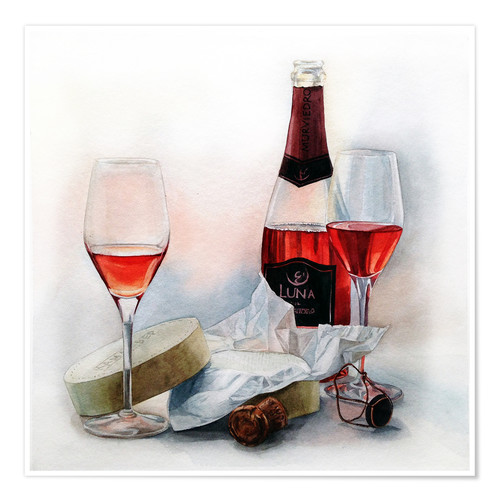 Premium poster Wine and cheese watercolor painting