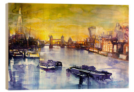 Hout print  London at sunset from the Angel - Johann Pickl