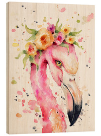Hout print  Little flamingo - Sillier Than Sally