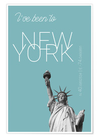 Premium poster Popart New York Statue of Liberty I have been to Color: Light blue