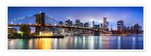 Premium poster Brooklyn Bridge panorama in New York City, USA