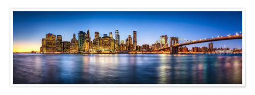 Premium poster New York City skyline panorama at night