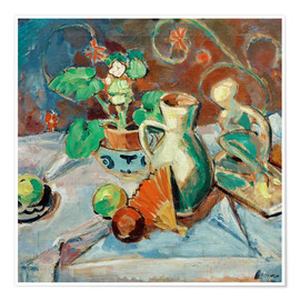 Premium poster Still life with a white pitcher, plastic, fans and oranges