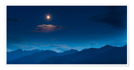 Premium poster Moon over mountains