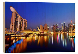 Hout print  Singapore cityscape at night