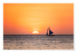 Premium poster Sailboat in the sunset