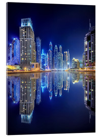 Acrylglas print  Dark blue night - Dubai Marina bay