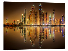 Acrylglas print  Reflections in Dubai marina bay