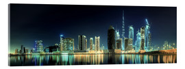 Acrylglas print  Panorama of the business houses of Dubai