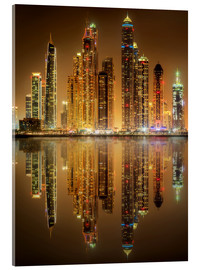 Acrylglas print  Lighting the Dubai Marina Bay