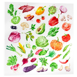 Acrylglas print  Fruits and vegetables watercolor