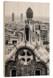 Hout print  Impressive architecture and mosaic art at Park Guell